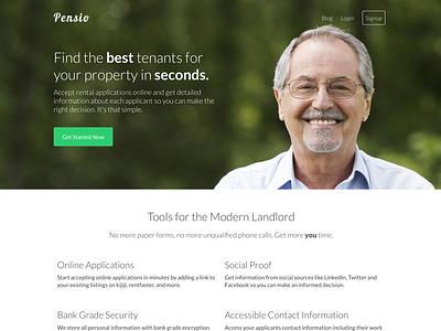 Pensio Home Page landing page site web design pensio