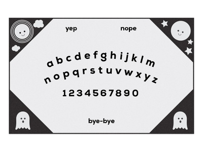 Ouija Jr. contrast cute youth childish sanserif game superstition supernatural paranormal planchette talking board spirits spirit board seance board game ouija ouija board kids occult ghost