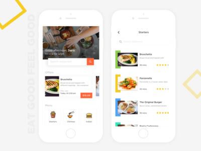 Food app-search/offers/menu debut orange simple clean search flat app ui offers menu delicious food