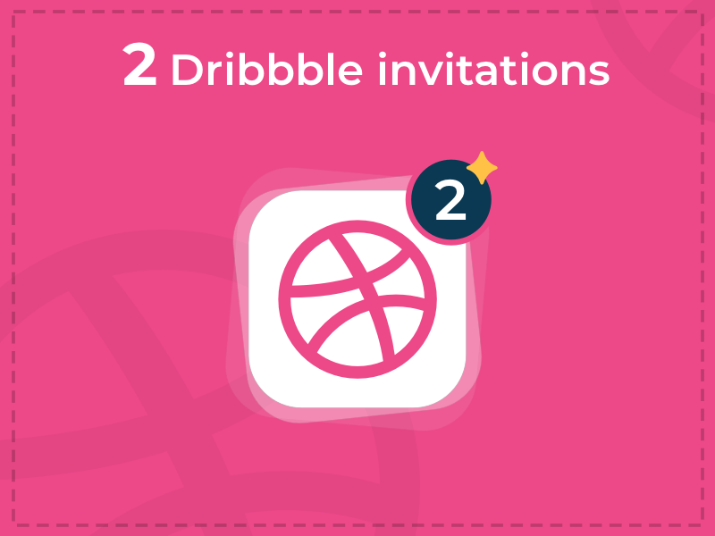 Dribbble Invite pink blue simple clean two invitation dribbble