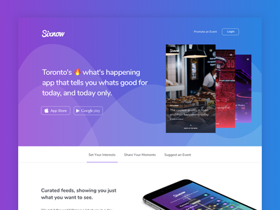 Sixnow landing page web design whitespace padded vector flat purple