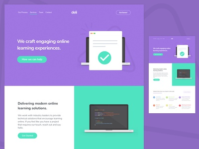 E-Learning Landing Page padded flexbox teal purple landing page e-learning