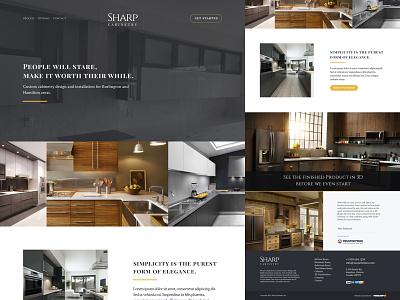 Sharp Cabinetry - Landing Page flat design dark design white space serif modern general contractor contractor woodworking cabinetry landing page