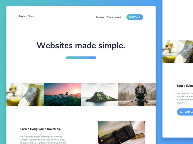 Simple layout web design ui ux white space