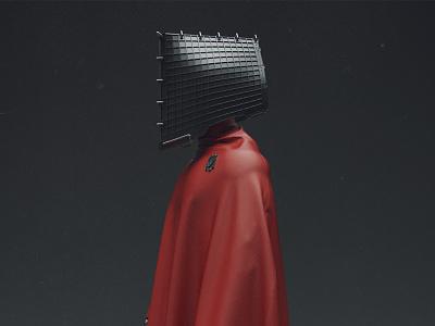 Red Cardinal future red dark grey modeling 3d studio lightning metal concept character