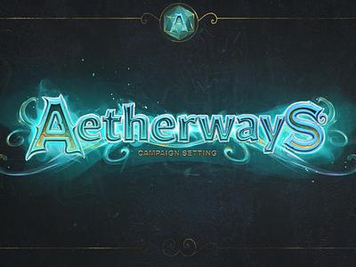 "Logo for card game ""Aetherways"" logotype digitalart illustration conceptart cardgame fantasyart user interface design gameart gamelogo logo design logo"