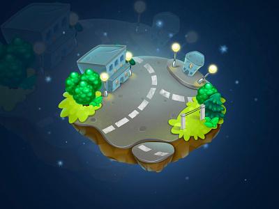Fantasy island city for game fantasy islands city juboart cg gui magic 2d art game illustration island