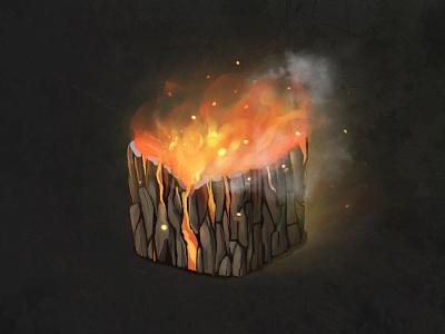 Burning stump texture wood fire burned stump material texture illustration 2d cg art