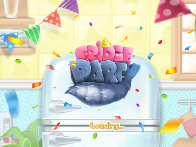 """Mobile game """"Fridge party"""" cat logo juboart gui play character mobile cg 2d game art"""