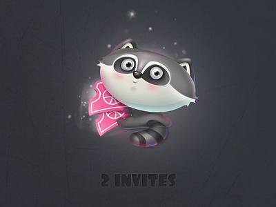 2 dribbble Invites cute cartoon colors work pink raccoon hello invitaion illustration invites dribbbble