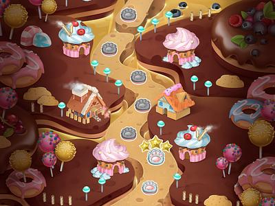 "Sweet map for ""Fridge party"" gui juboart illustration mobile cg 2d game art isomatric sweet map"