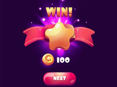 Win game pop-up shutterstock vector logo illustration design dark modern ribbon button stars colors flat next gui win game ui