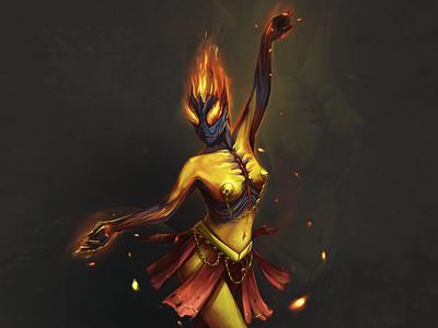 Girlfire fantasy girl monster dance fire character magic juboart illustration cg 2d art