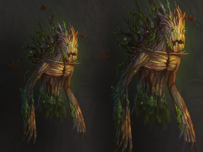 Wooden monster ent fantasy wooden digital cg monster character juboart illustration 2d art