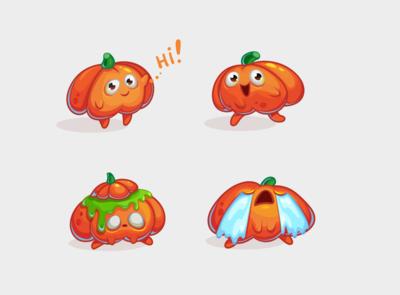 Cartoon funny pumpkins