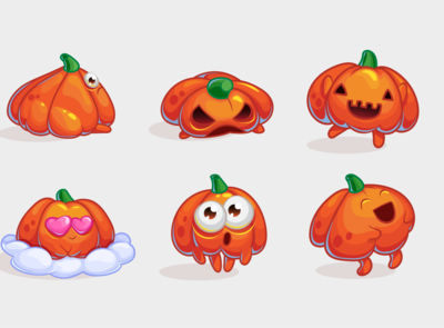 Set of cartoon pumpkin stickers