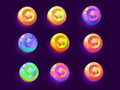 Set of gradient colors coins