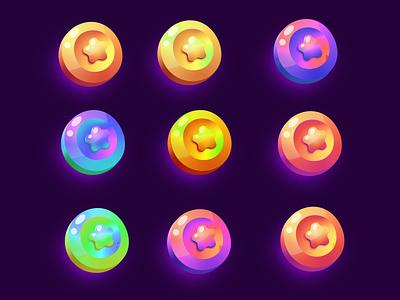 Set of gradient colors coins art design logo ui illustration star shutterstock vector gradient colors icon coins set