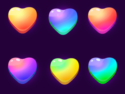 Trendy colors icon hearts, likes)