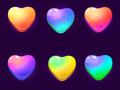 Trendy colors icon hearts, likes) design illustration game art ui shutterstock trendy vector colors icon hearth like
