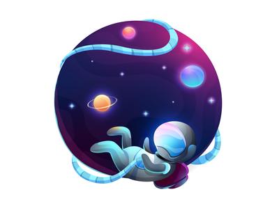 Gradient space illustration. Astronaut, planet, universe