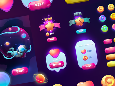Set of galaxy gradient game UI. Colors vector GUI.