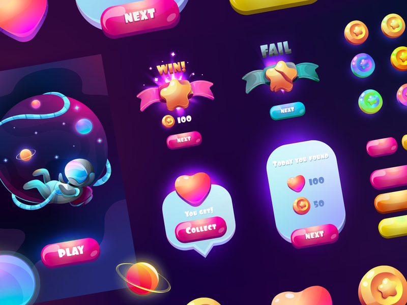 Set of galaxy gradient game UI. Colors vector GUI. lose win shutterstock space galaxy vector app design logo play character mobile game art illustration ui  ux ui gui