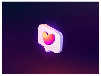 Isometry like social media icon. Gradient colors heart.