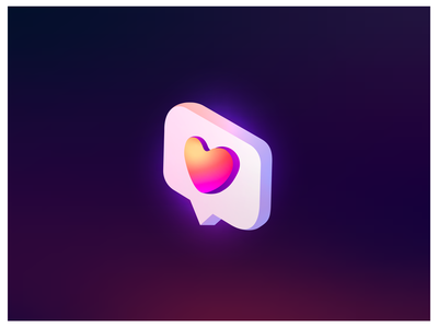 Isometry like social media icon. Gradient colors heart. blogger comments shutterstock like social app socialmedia vector logo icon gradient trendy isometry heart