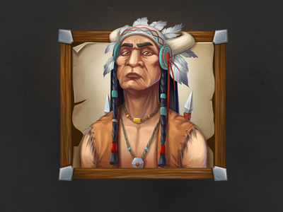 Wild West character icon. Red Indian character. painting drawing digital digital art concept icon portret red indian wildwest game design character illustration 2d art