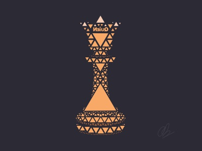 The Powerful Piece in Chess illustration vector typography design visual design