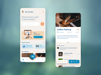 Course & Learning App product blue lesson concept app ios iphone 12 max material ui app design mobile ux application design learning app edtech educational app education ui app design visual design illustration typography