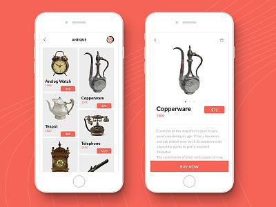 Antique Piece Collection graphic design uiux interaction design product displaying mobile app ui design app