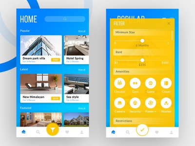 Rent a House.. material home filter minimal clean uidesign mobile ui