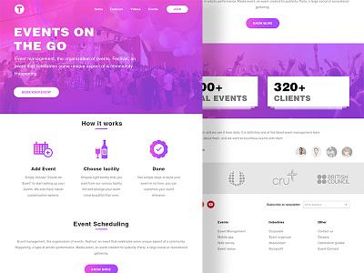 T Events management company minimal clean gradient icons gradient website design website