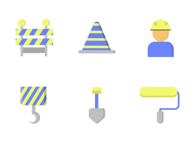 Tools And Equipment yellow blue equipment tools construction color flat icon