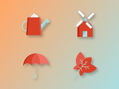 Autumn Icons watering mill leaf umbrella autumn gradient icons
