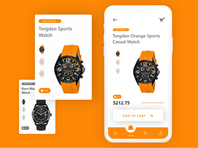 Imported watches app UI clean minimal mobileui flat colors