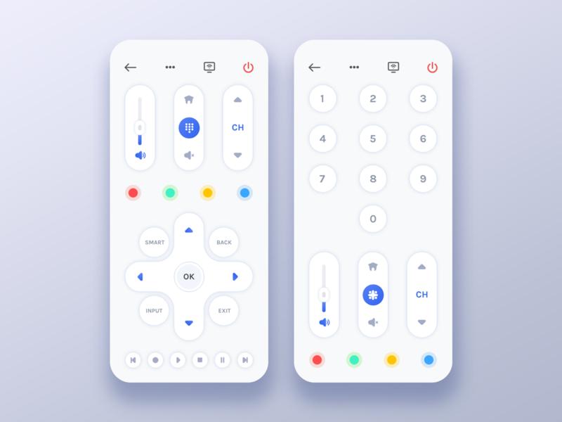 Universal Remote Control Concept button design colour blue mobile icons remote control control tv remote remote trending popular ui ux concept mobile application mobile app design user inteface app ui
