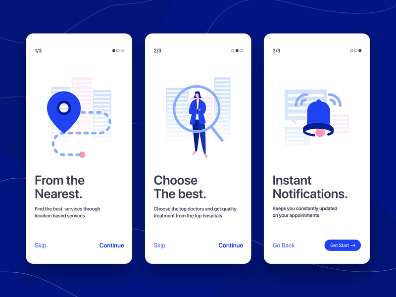DentoBook - Onboarding cards mobile illustrations illustration vector icons application walkthrough onboarding ui onboarding notification doctor search location user interface uiux ui mobile application mobile app app