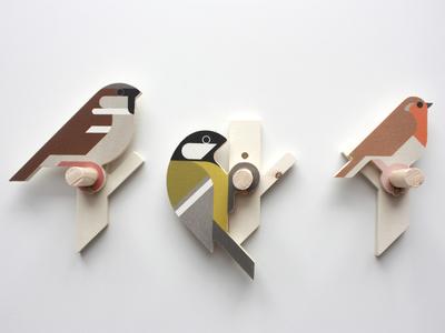 Wooden bird wall hooks