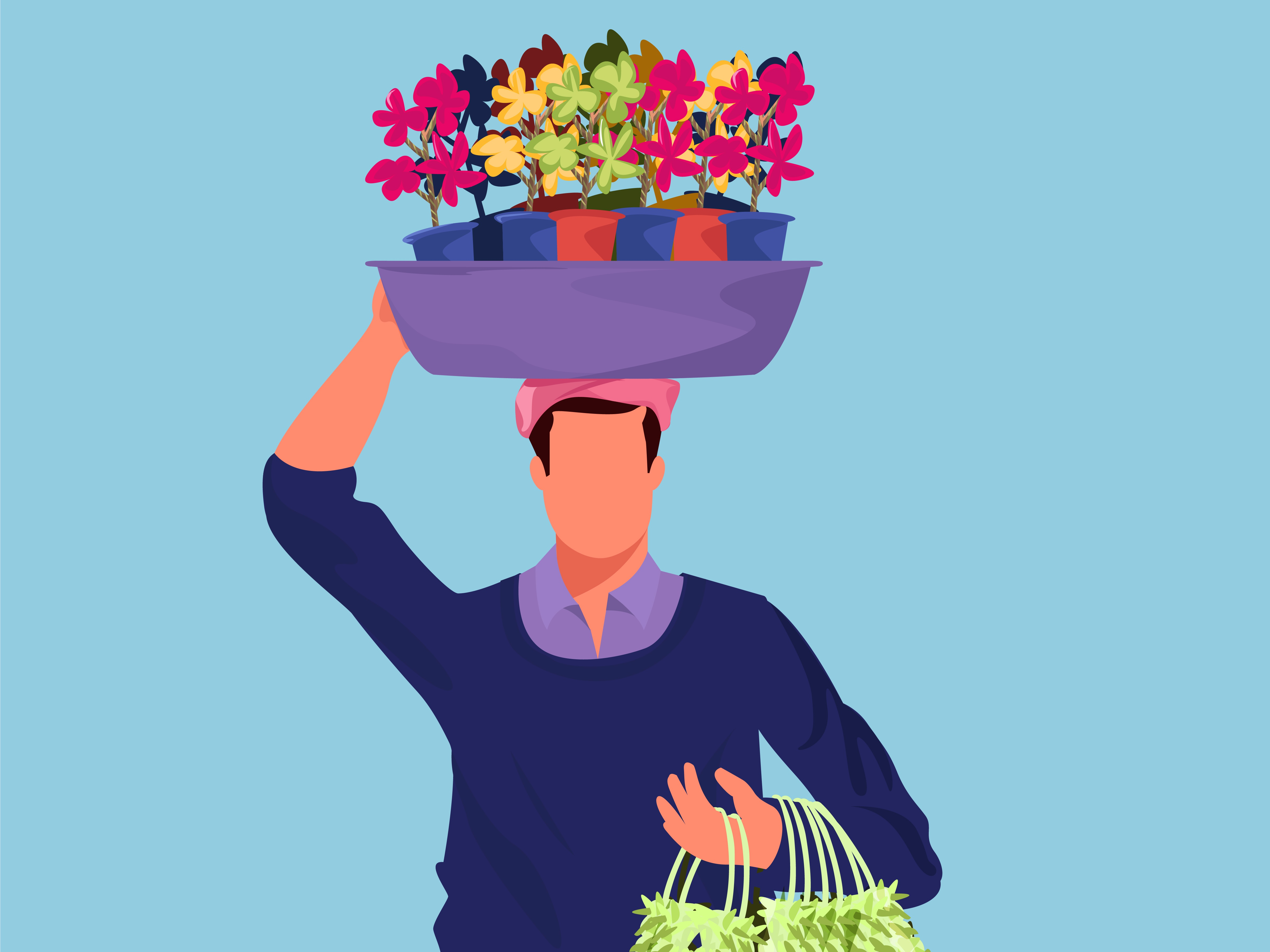 Plastic flower sale man 400x300