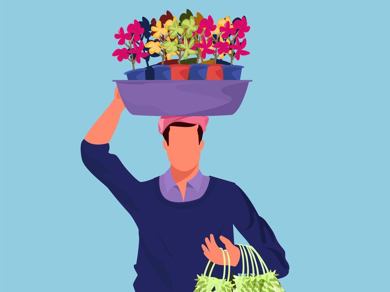 The Flower Seller vector branding illustrations illustration explainer video animation india 2d garland pot indian character man illustator flower