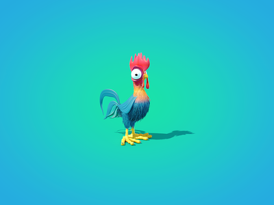 Hei Hei - The Rooster disney inspiration morning height color modern rooster lighting cinema 4d 3d modeling aftereffects illustrations design illustration india animation explainer video