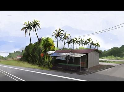 Village Highway savenature poetry beauty photoshop brushes mypromovideos roads village trees nature shop landscape highway lighting 2d illustration animation explainer video