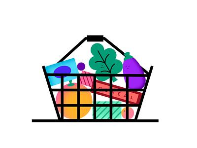 Fruit Basket flat geometric colour line figma basket fruit