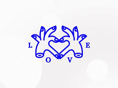 Love Mark cobalt lines mark hands love