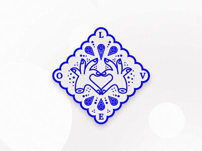 Love Badge cobalt lines mark hands love