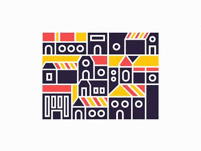 City Bloc colour geometric building illustration square city