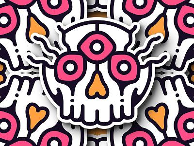 Three Eye illo skull badge sticker eye three